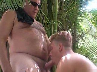 Roman Sucks Daddys Cock Outside